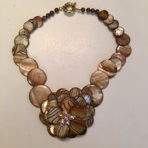 Artisan- Made Mother of Pearl Choker w/ flower